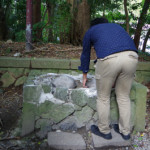 弥彦神社の火の玉石で願いを占う